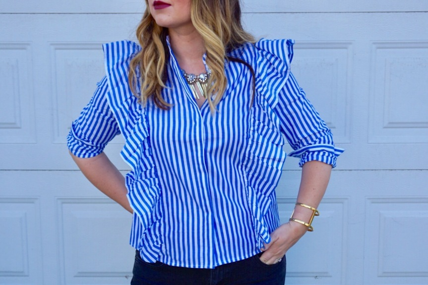 Trends We Love: Blue Pinstriped Blouse